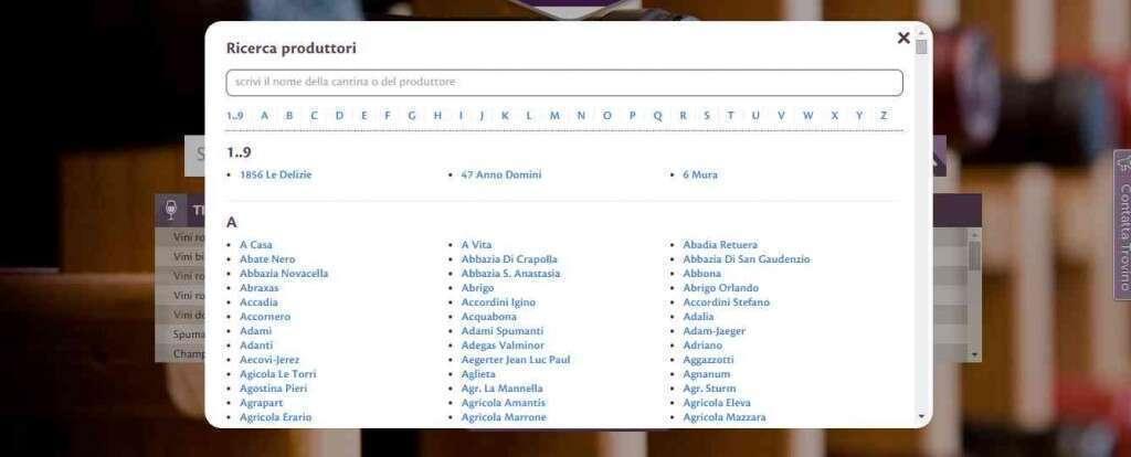 La finestra Ricerca Produttore, attivabile dal link Vedi Tutti