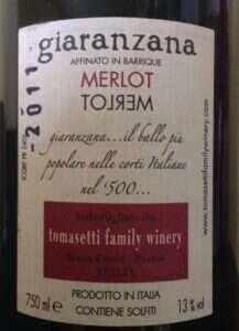 Merlot Giaranzana - Etichetta retro