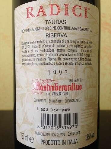 Taurasi Radici Mastroberardini 1997 Retro Etichetta