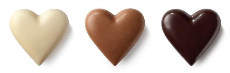 Tre cuori di Cioccolato. Bianco, al Latte e Fondente