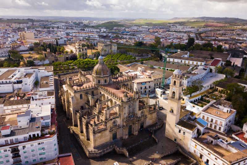 Vista panoramica di Jerez de la Frontera con la Cattedrale del Santissimo Salvatore