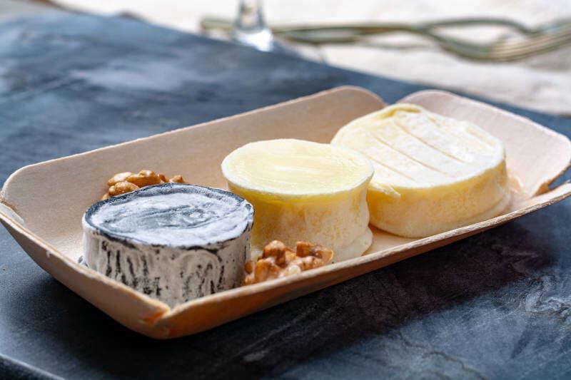 Assortimento di formaggi di capra morbidi francesi, Chevre Cendre, Cabecou Du Perigord e Chevre De Dordogne