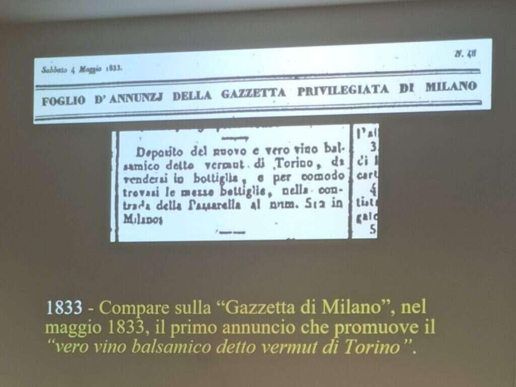 Annuncio Pubblicitario Gazzetta di Milano sul Vermouth di Torino